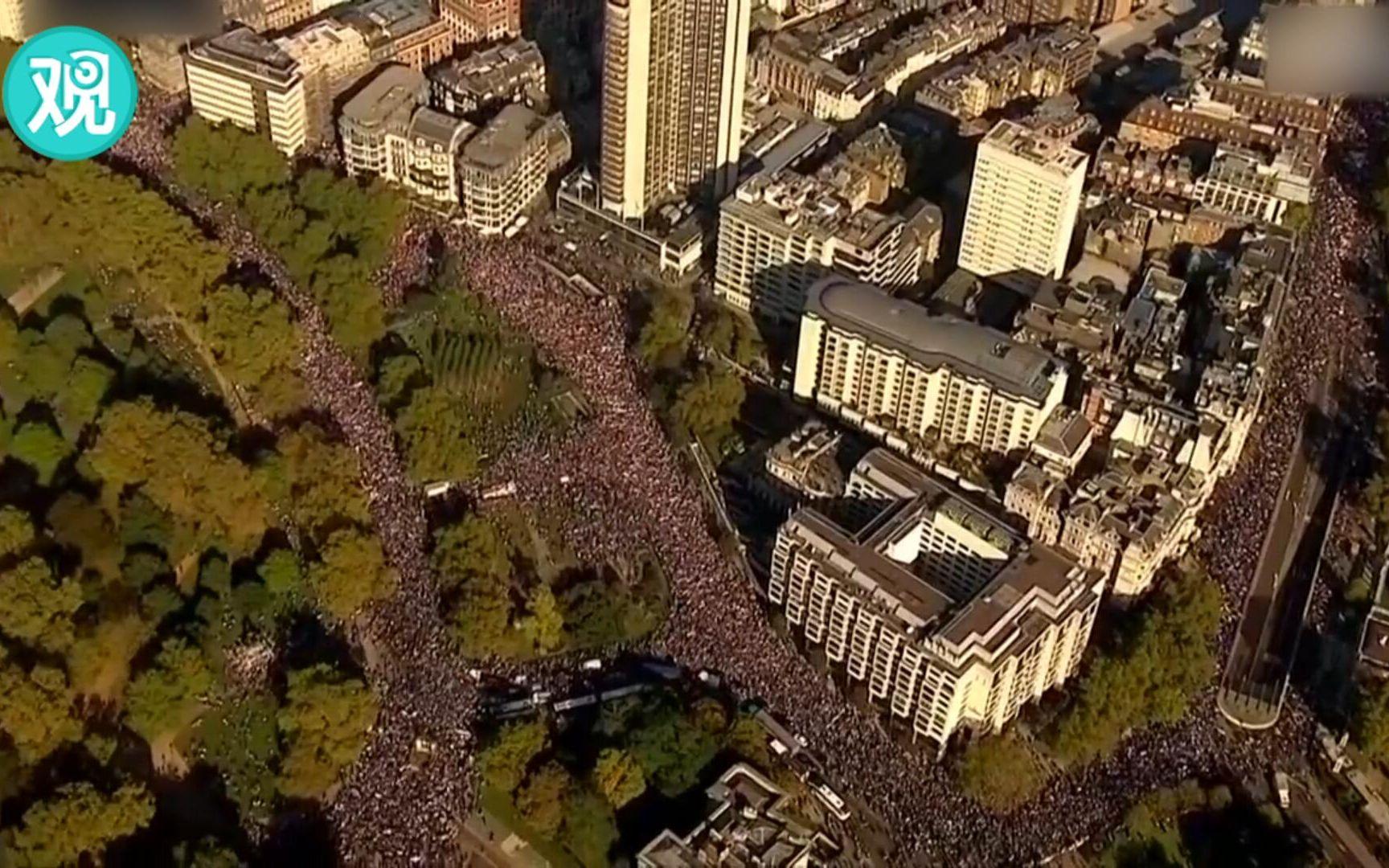 非常壮观了!近70万人游行示威,要求第二次脱欧公投