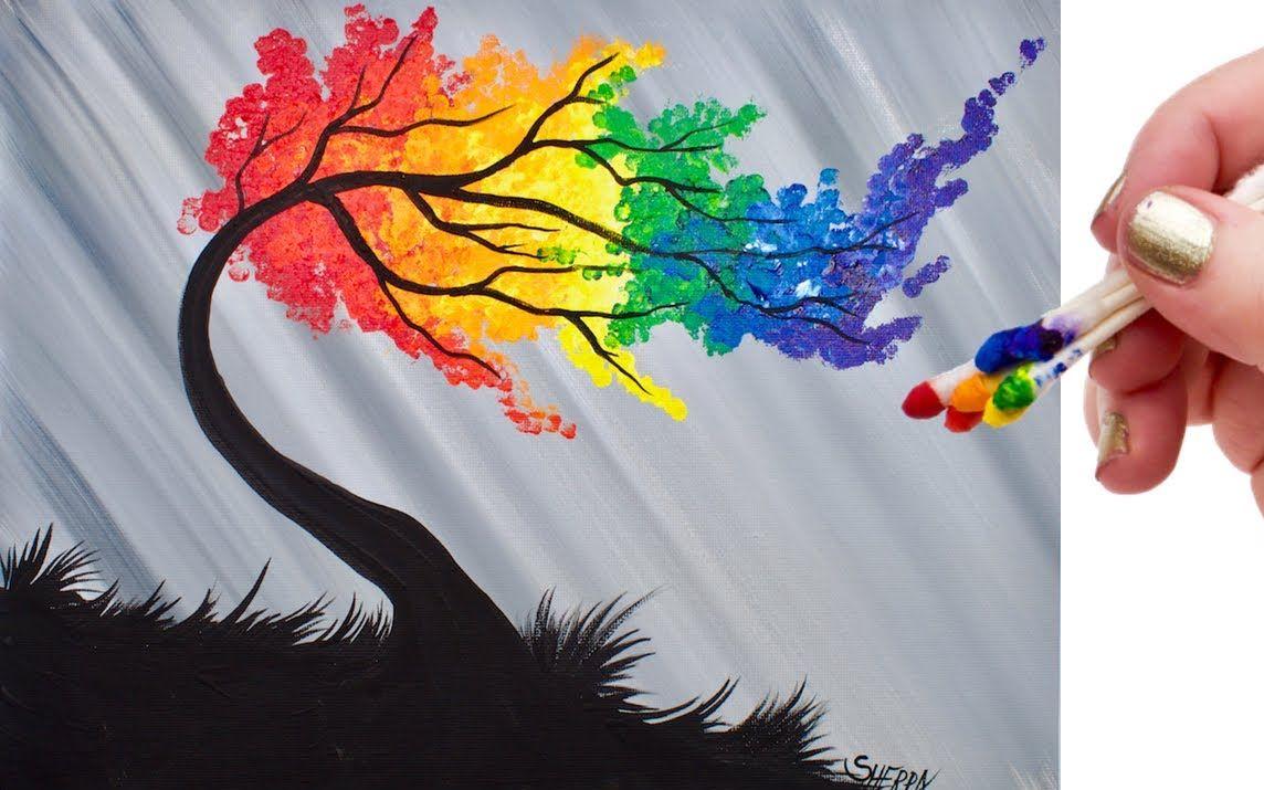 【丙烯画】视频画彩虹树棉签(搬运)播谨艺教程主图片