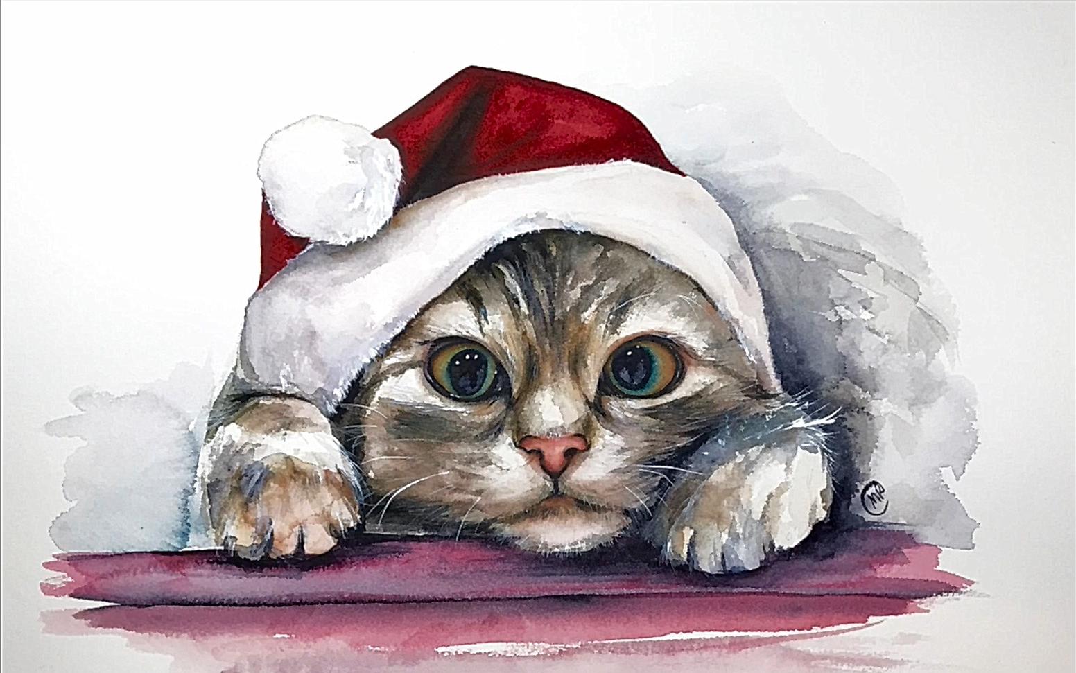 【水彩】水彩圣诞小猫绘画教程,maria raczynska分享 | 搬运图片