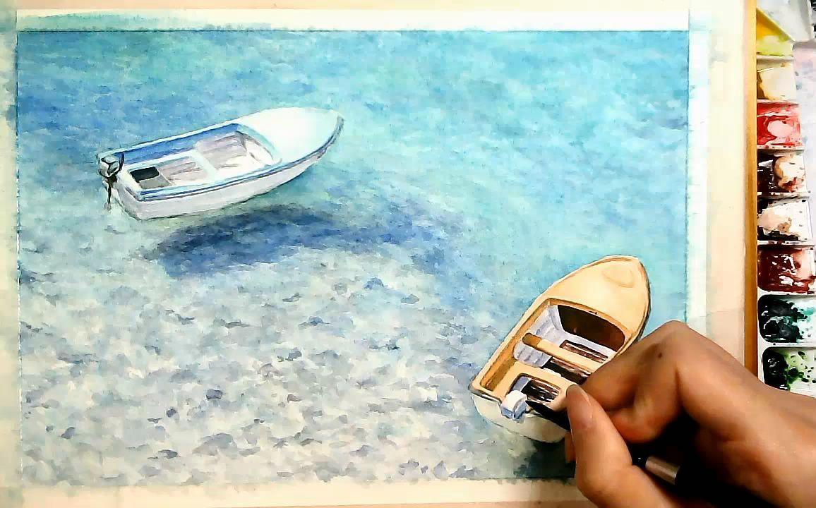 水彩画《海边的小船》手绘过程图片