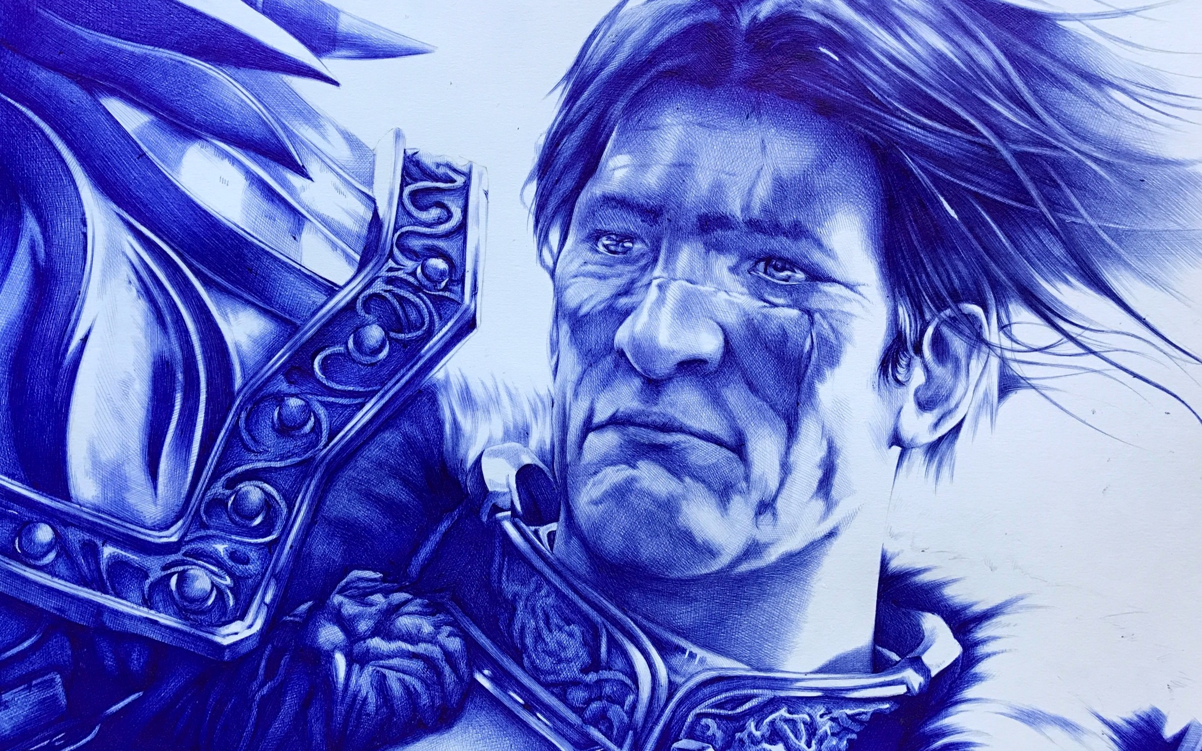 「魔兽世界」瓦里安 乌瑞恩——圆珠笔画