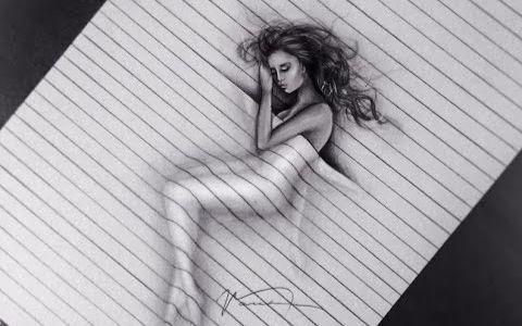 【铅笔手绘】画个3d立体感的睡美人