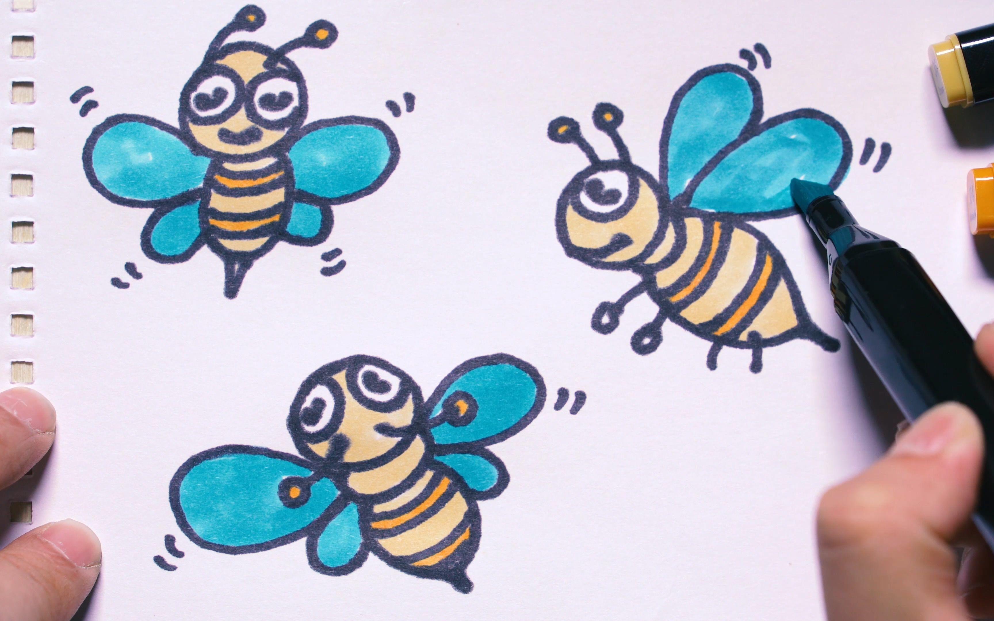 神笔简笔画 - 勤劳的蜜蜂没有女朋友图片