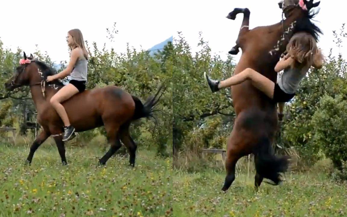摔下马背怪我喽?美女骑马失误出糗爆笑合集