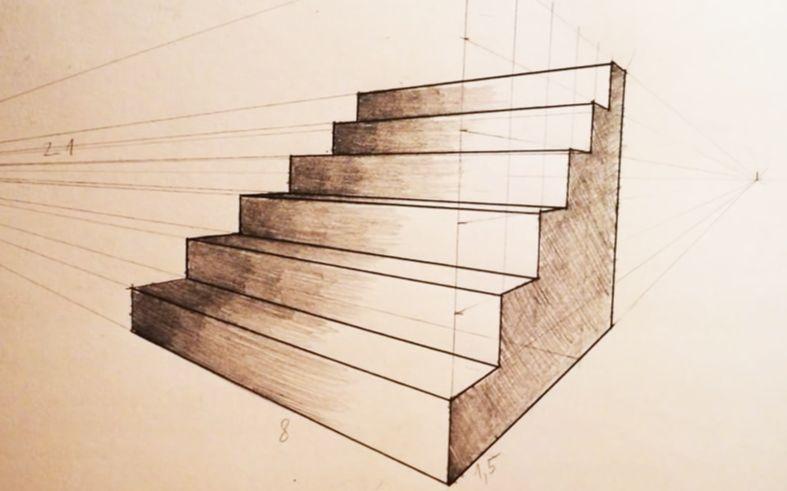 两点透视楼梯的超详细画法,只能帮大家到这里了图片
