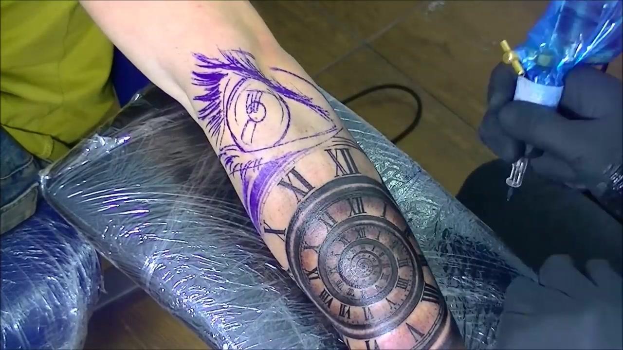 欧美最新纹身视频tattoo-眼睛,钟表