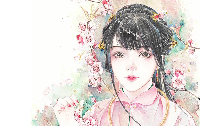 【手绘】大花手绘——古风手绘水彩——桃花