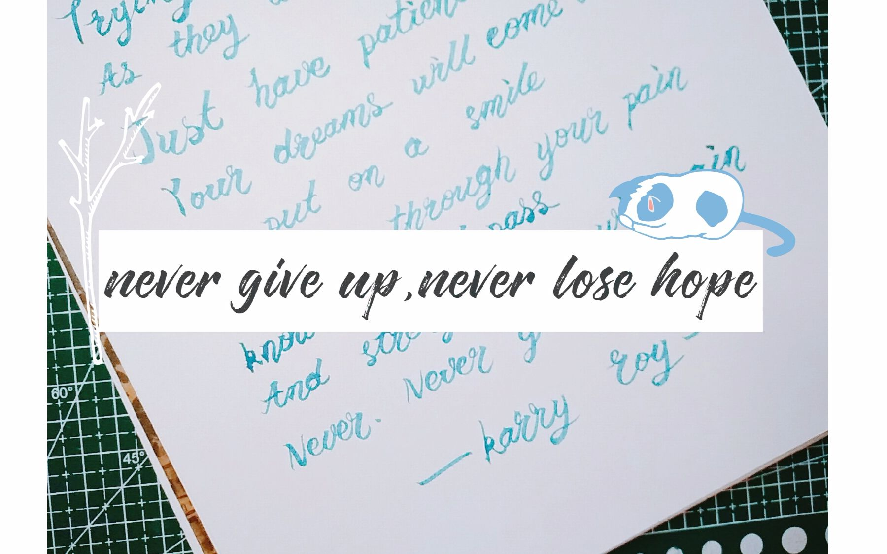 【brushlettering】一起来练字吧~never give up,never lose hope