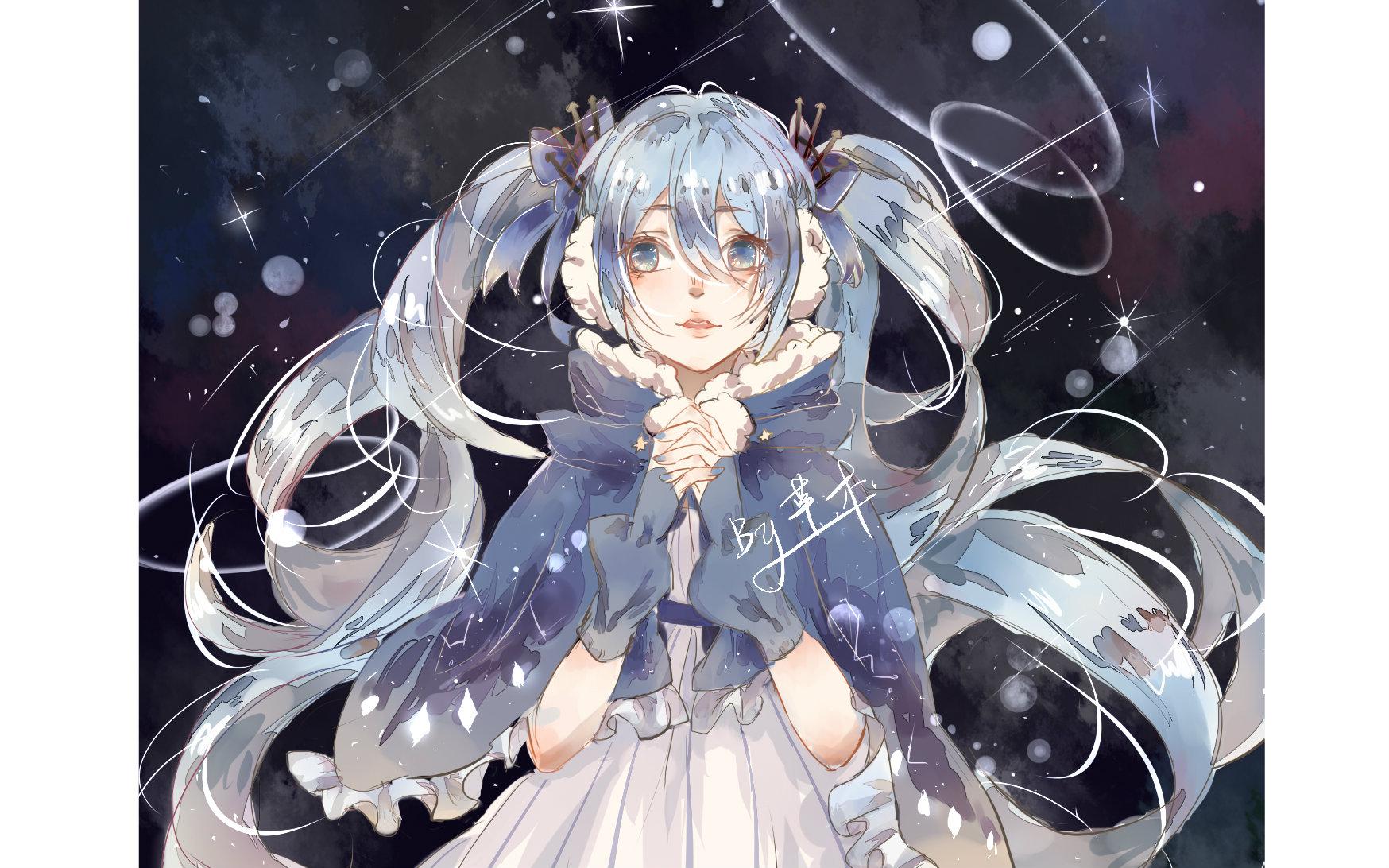 【绘图过程】画了一只冬夜miku
