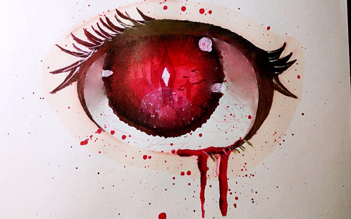 血色眼睛教程 只会画眼睛的up主又来啦 眼睛上色过程