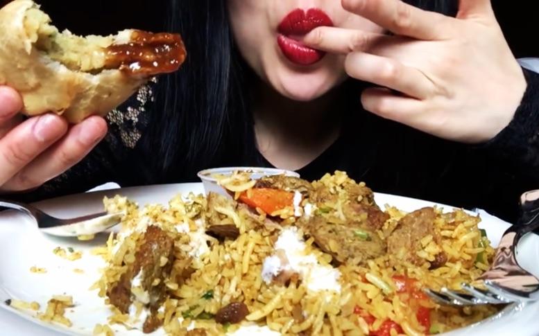 吃播asmr · 红唇sas姐 · 印度炒米饭 萨莫萨三角饺图片