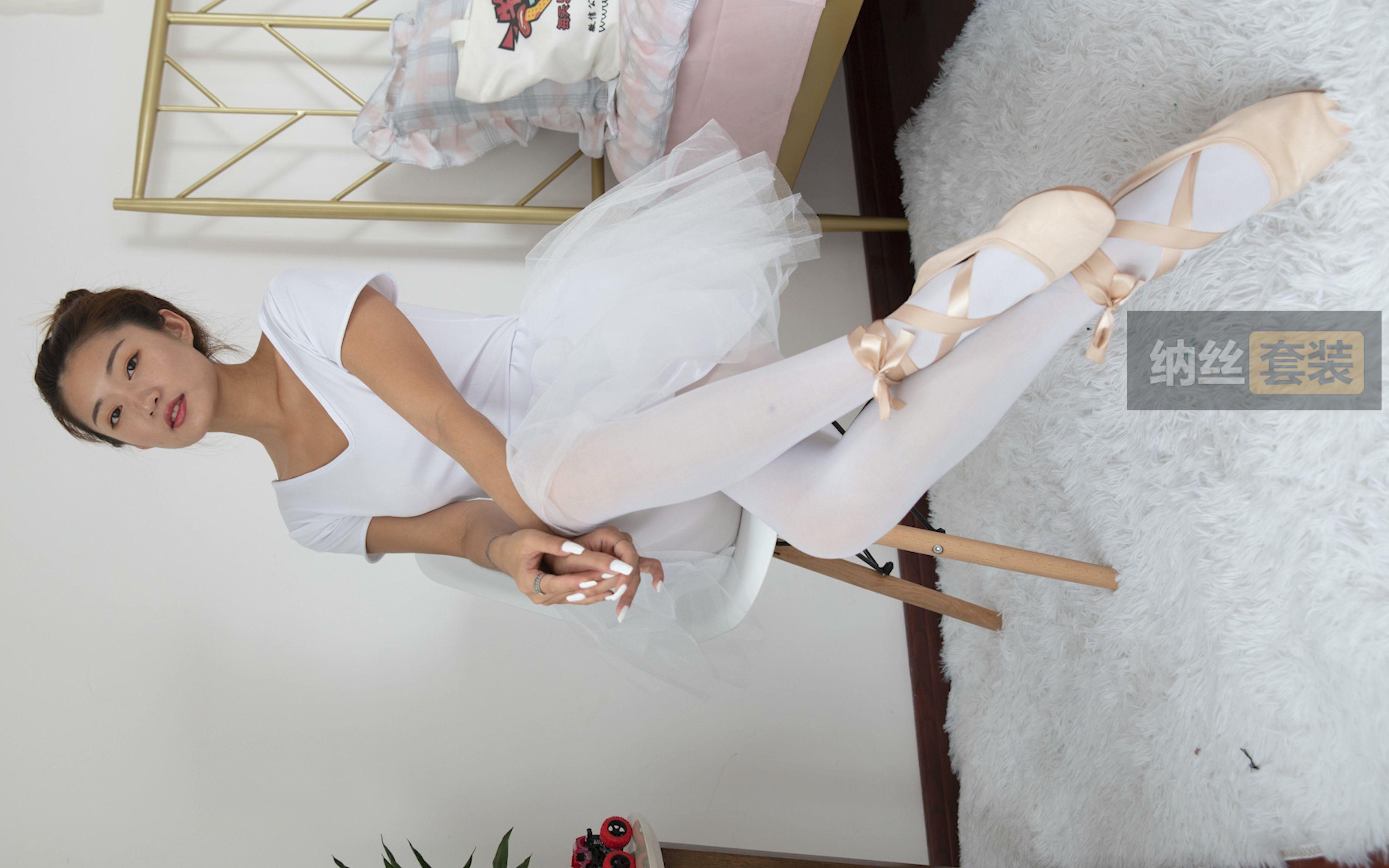 4K 美女白丝芭蕾风系带鞋芭蕾裙学院风写真拍摄