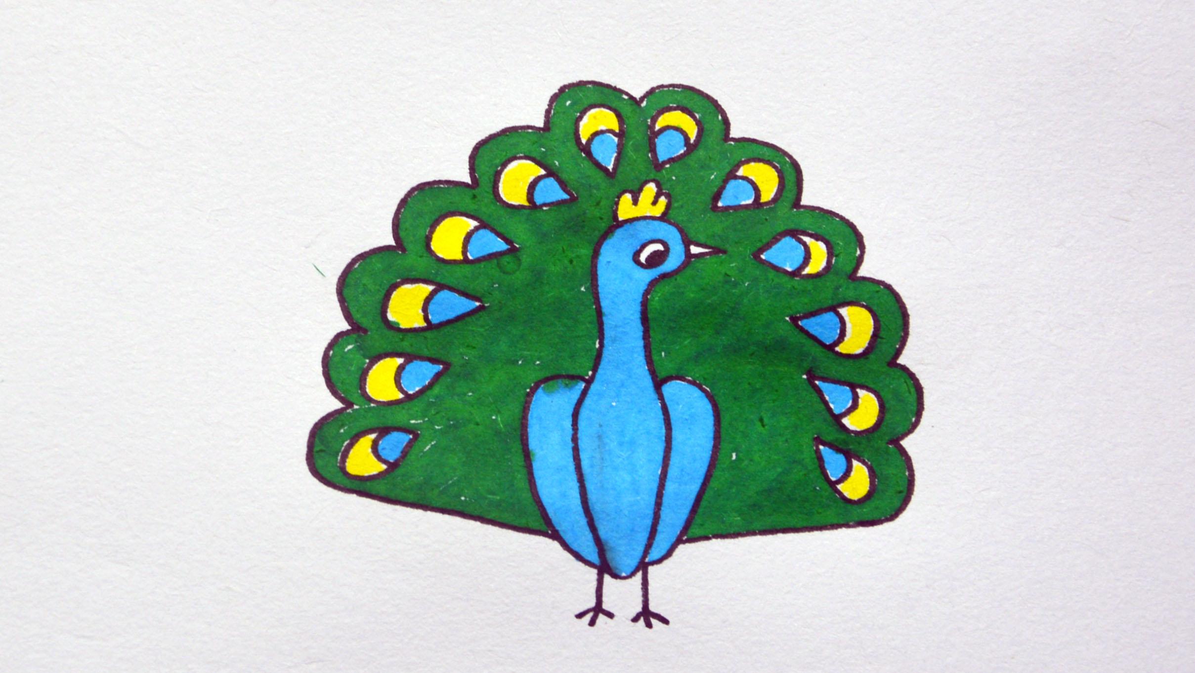 儿童简笔画孔雀,教孩子简单画出孔雀开屏简笔画 绘画