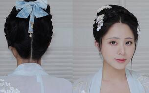 【汉服发型教程】一款无发包温柔可爱的适合日常出行,古风汉服发型2图片