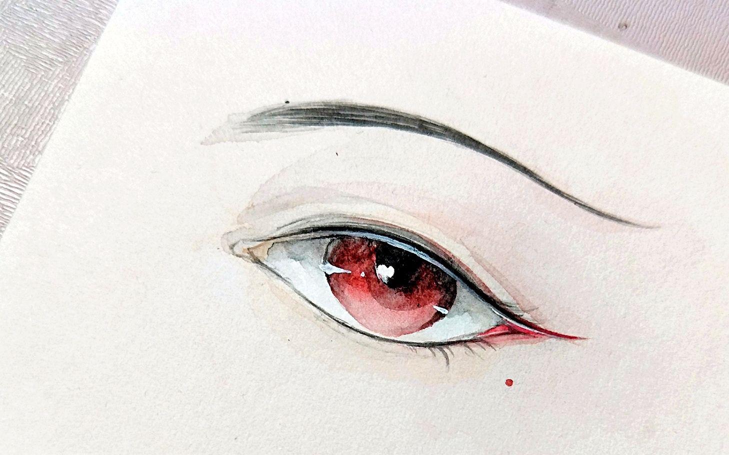 眼睛手绘水彩教程 突然想画眼睛了,练习一下 哔哩哔哩 ゜ ゜ つロ干杯