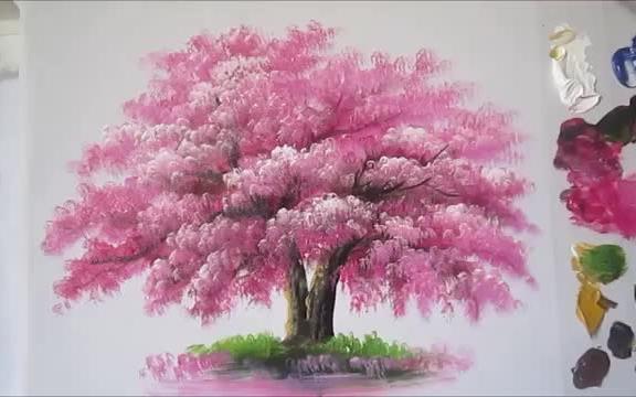 用水溶彩铅画樱花树图片 纵览新闻