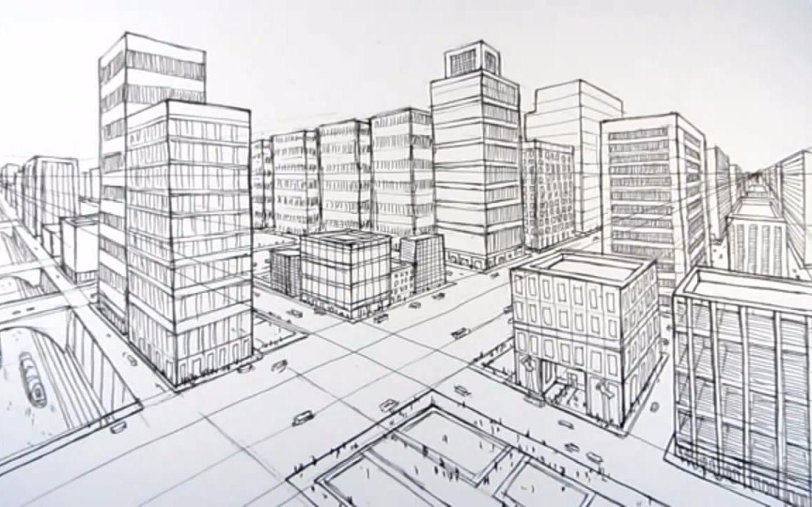 用两点透视画出城市场景图片