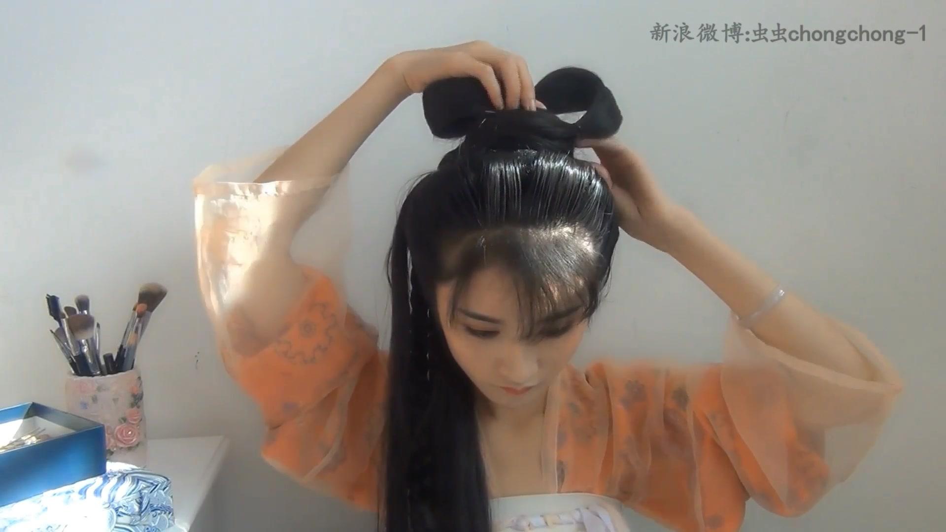 虫虫的汉服发型教程-唐制-双丫髻-古风发型教程图片