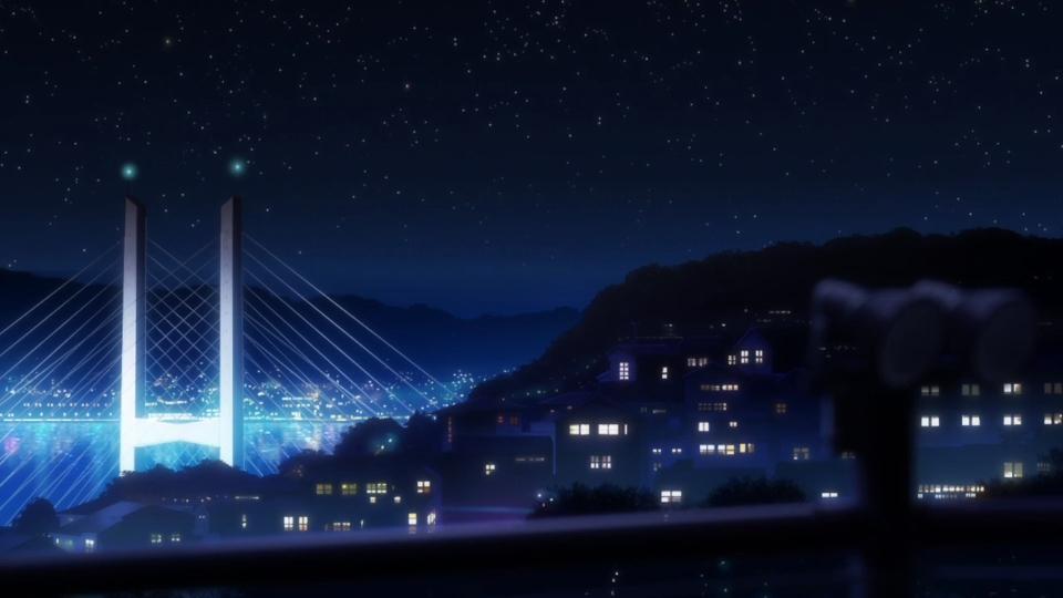 因为爱情,桥,相聚一刻,牵手,月亮,夜晚,城市,动漫桌面壁... 彼岸桌面