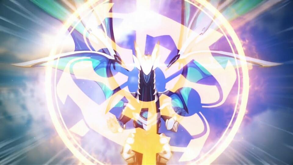在天空中充满的霹雳 ,战场之下,崩坏兽与泰坦激战不断,机械与异能的