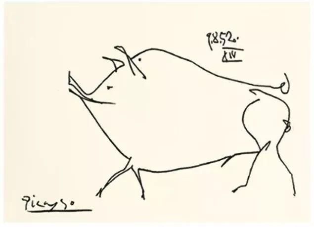 《猪-1952,09,08-14稿》石版画,毕加索