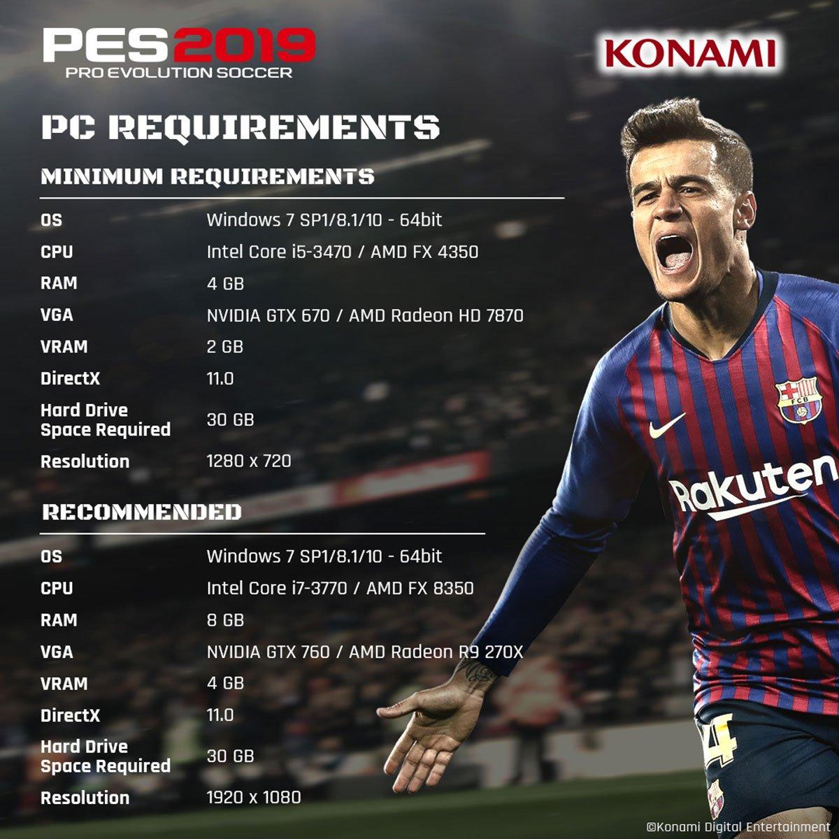 实况足球2019_《实况足球2019》支持在线快速比赛 pc配置最高仅需gtx 760