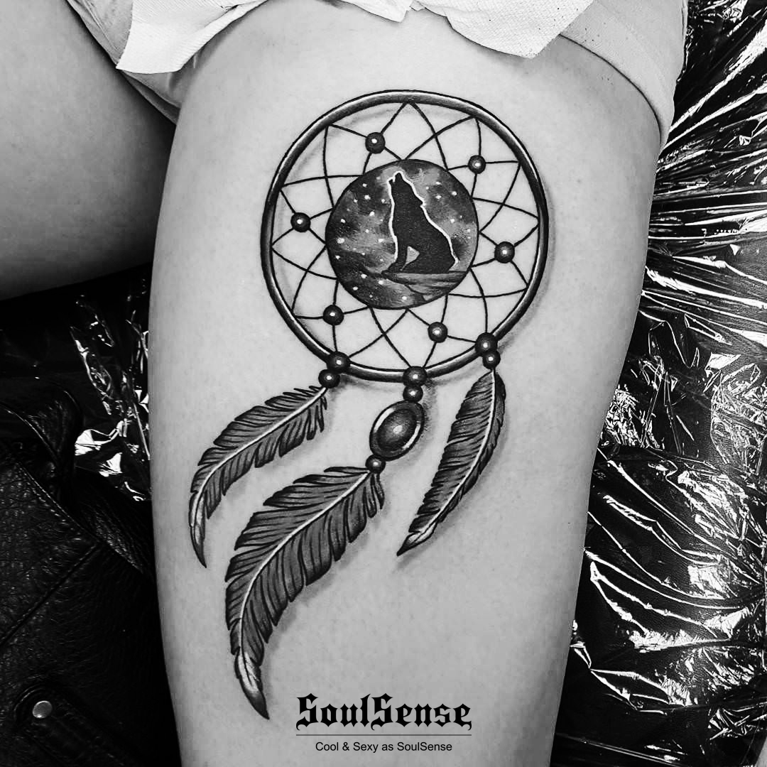 捕梦网象征着留住美好与祝福 下面多款关于神奇的创意捕梦网纹身图案