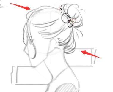 如果是扎马尾辫,也容易出现像马尾太直,走向不自然的问题图片