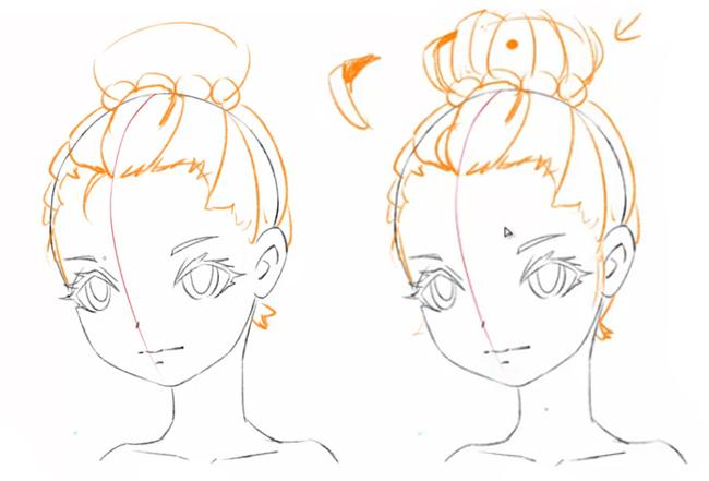 在下图中,由于女子扎的丸子头,她的丸子是一个球状整体,为了避免呆板图片