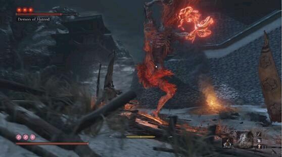 《只狼》之中最强的一名隐藏boss,很多玩家们都认为怨恨之鬼的难度