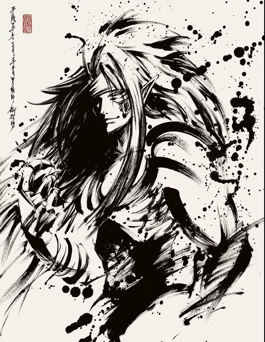 当二次元遇上笔下风,这个小漫画漫画的漫画简姐姐十八水墨禁图片