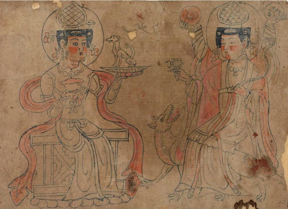 敦煌白画祆教女神像(粤文:粟特神只白画)图片