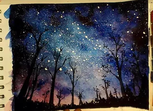 水彩画《最美星空》,初学者入门临摹教程