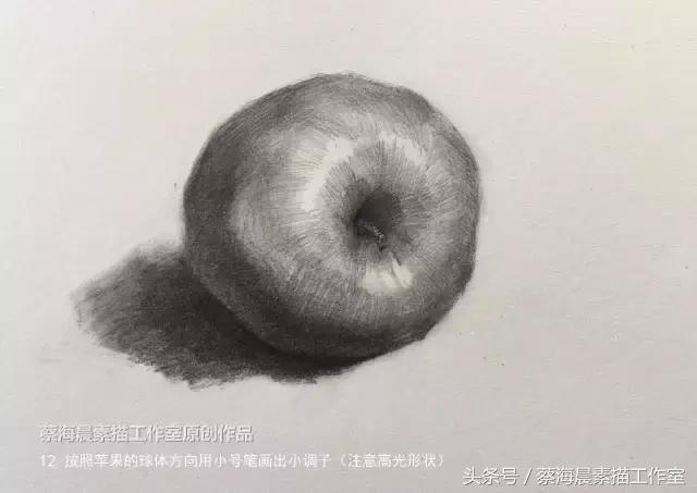 蔡海晨素描步骤稿10—素描苹果的画法图片