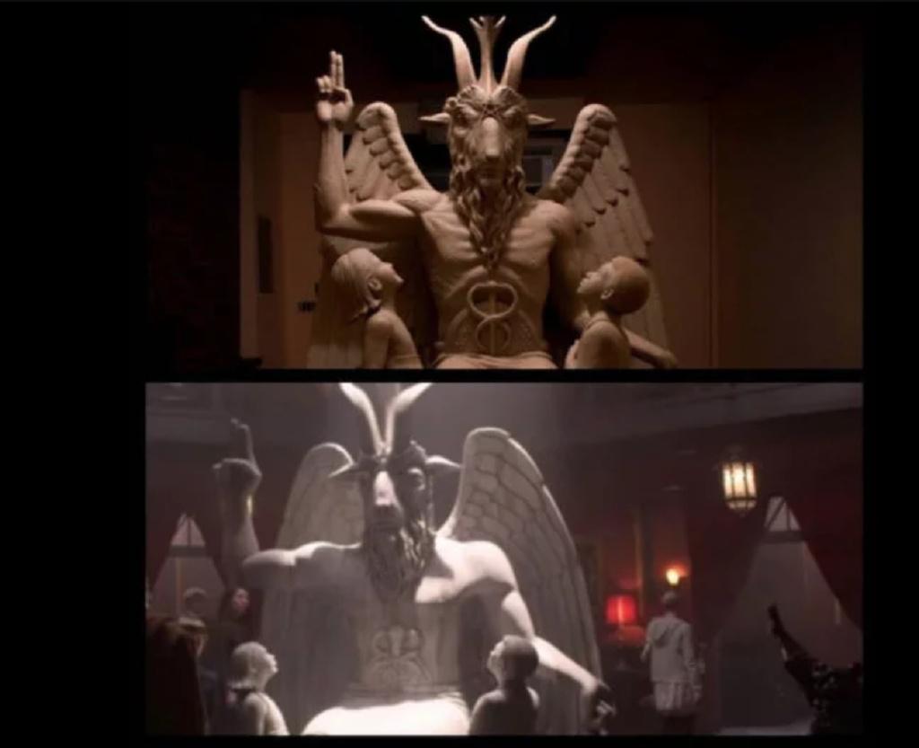 (撒旦神庙组织的恶魔神像雕塑)