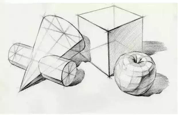 先看静物结构素描的单体 水果类的形大致是圆形 / ▼ 番 茄图片