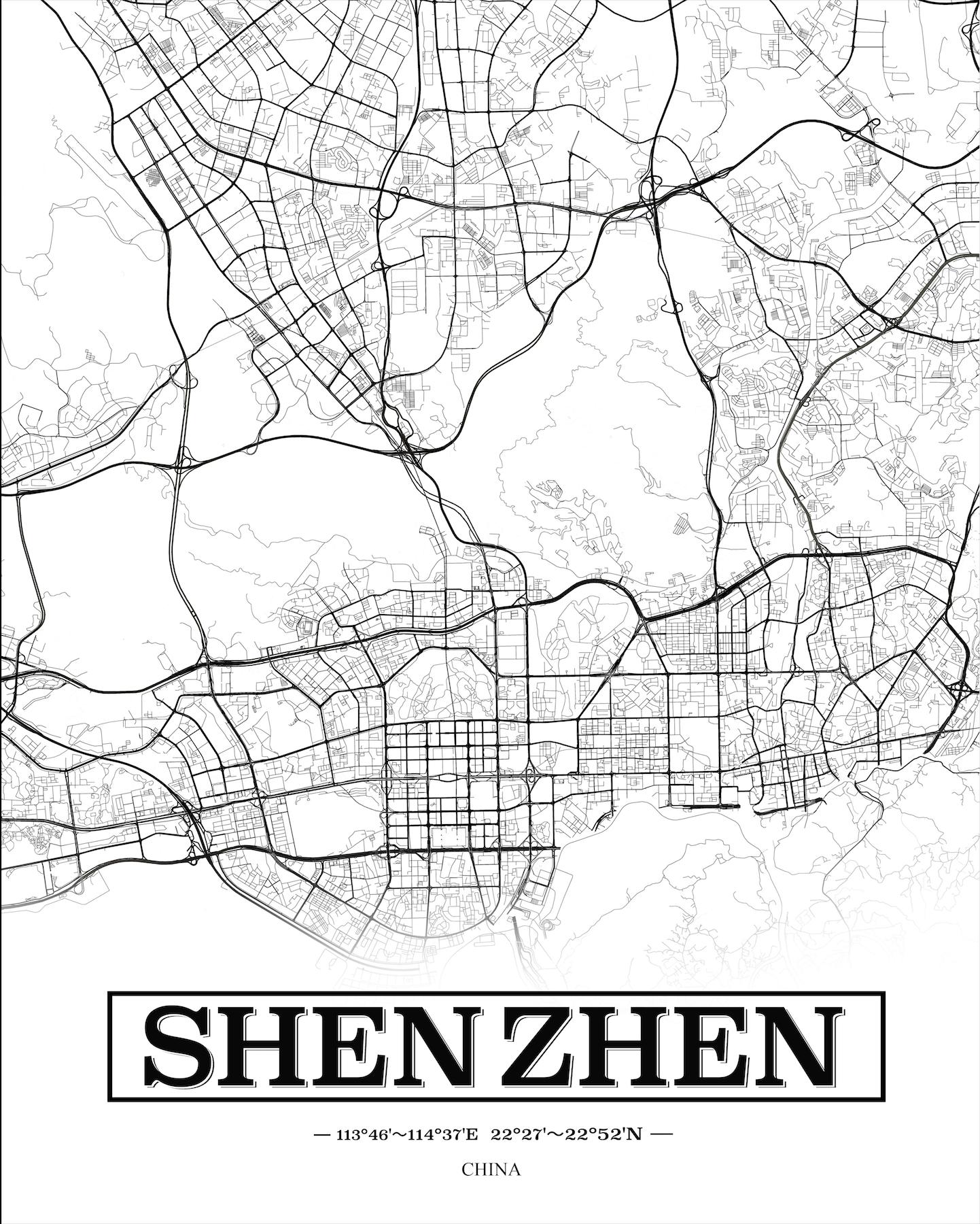 《深圳》线描地图图片