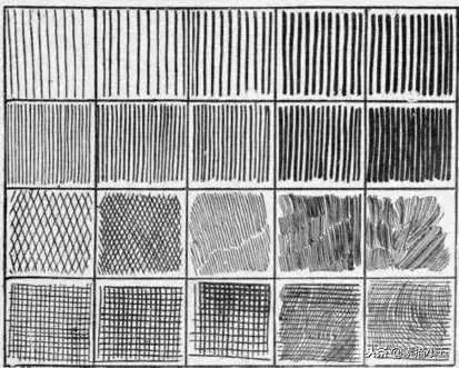 线条用于塑造画面黑白灰关系(明暗),线的疏密排列影响明暗.
