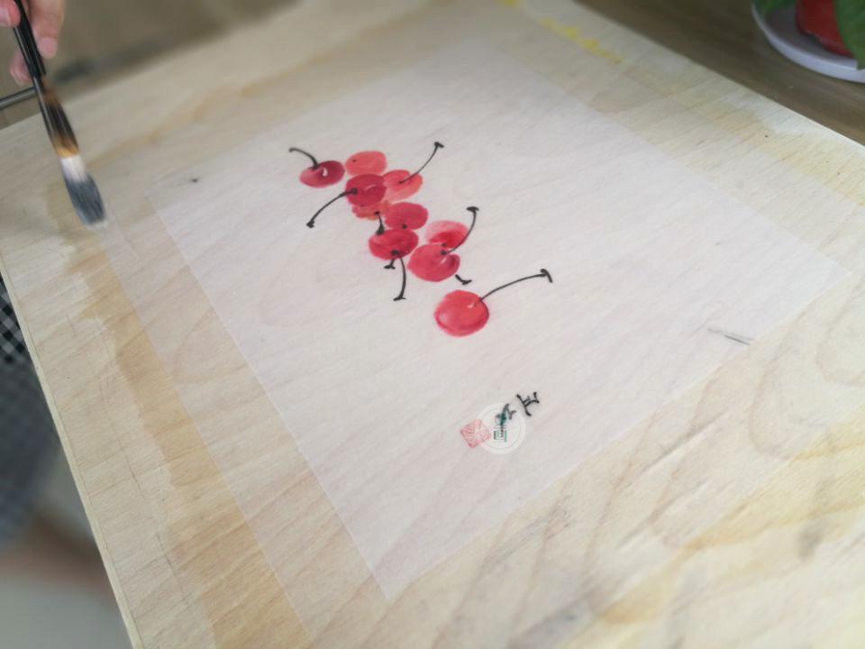 国画步骤|教程托裱画心技巧效果图后期v国画国画图片