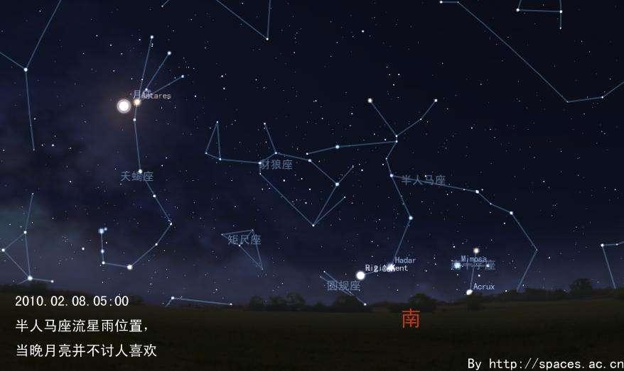 半人马座α星_地点:半人马座流星雨的辐射点靠近半人马座α星 ,是一个活跃在南半球