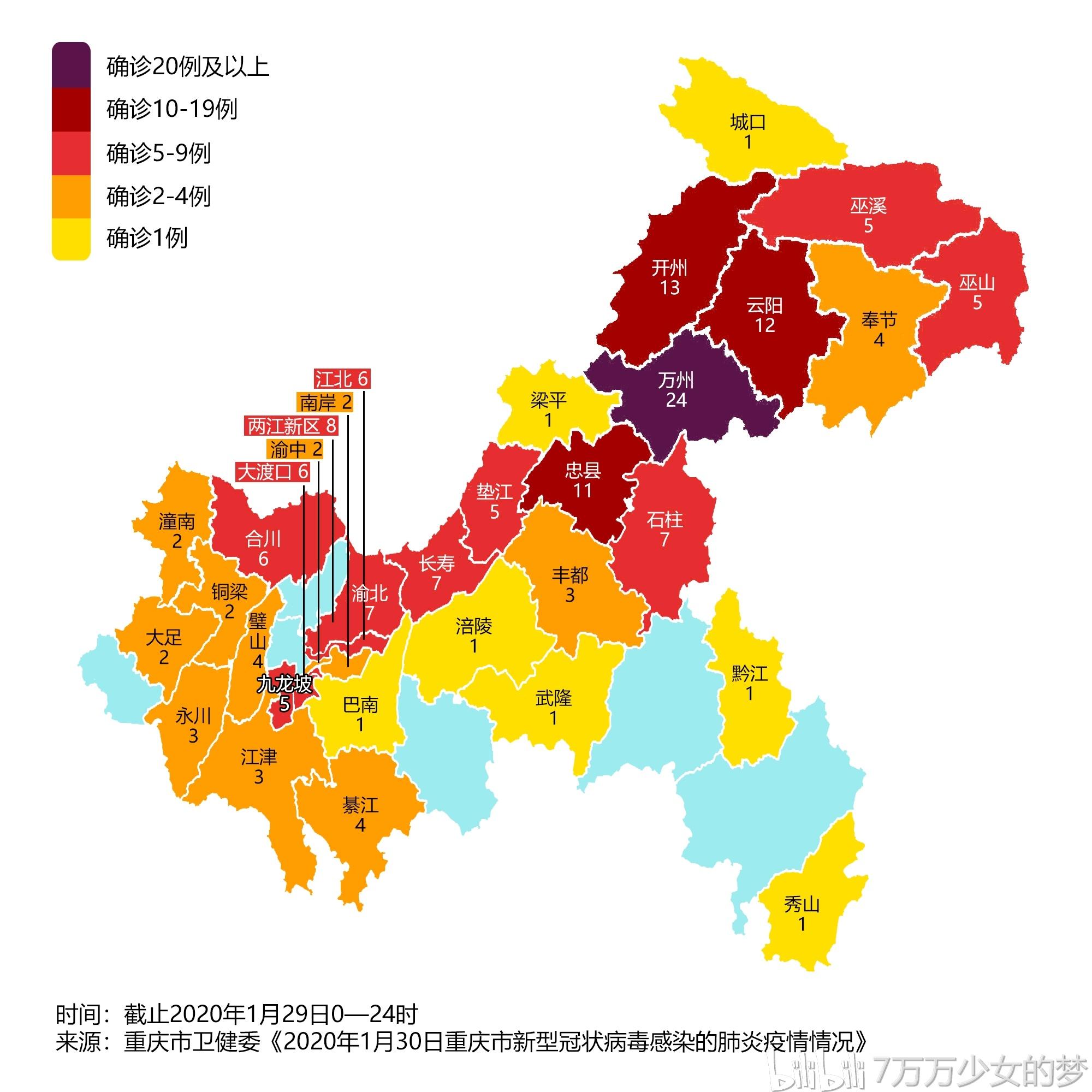 重庆新型冠状病毒肺炎疫情地图(1月31日)图片