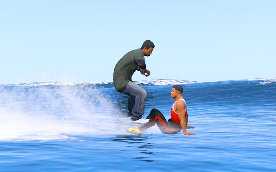 GTA5:拉玛水上嘲讽富兰克林