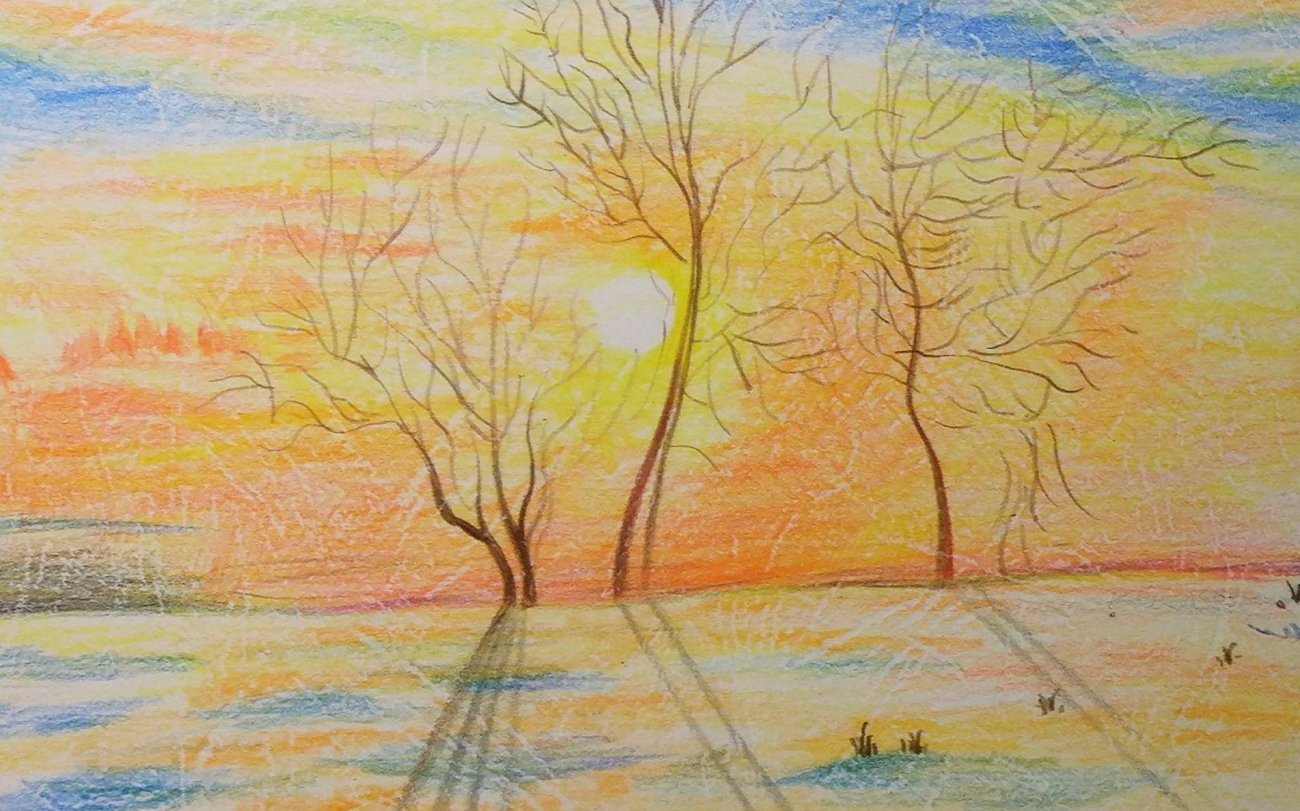 油性彩铅 风景画教程_【彩铅】日常向风景画 '余晖'_哔哩哔哩 (゜-゜)つロ 干杯~-bilibili