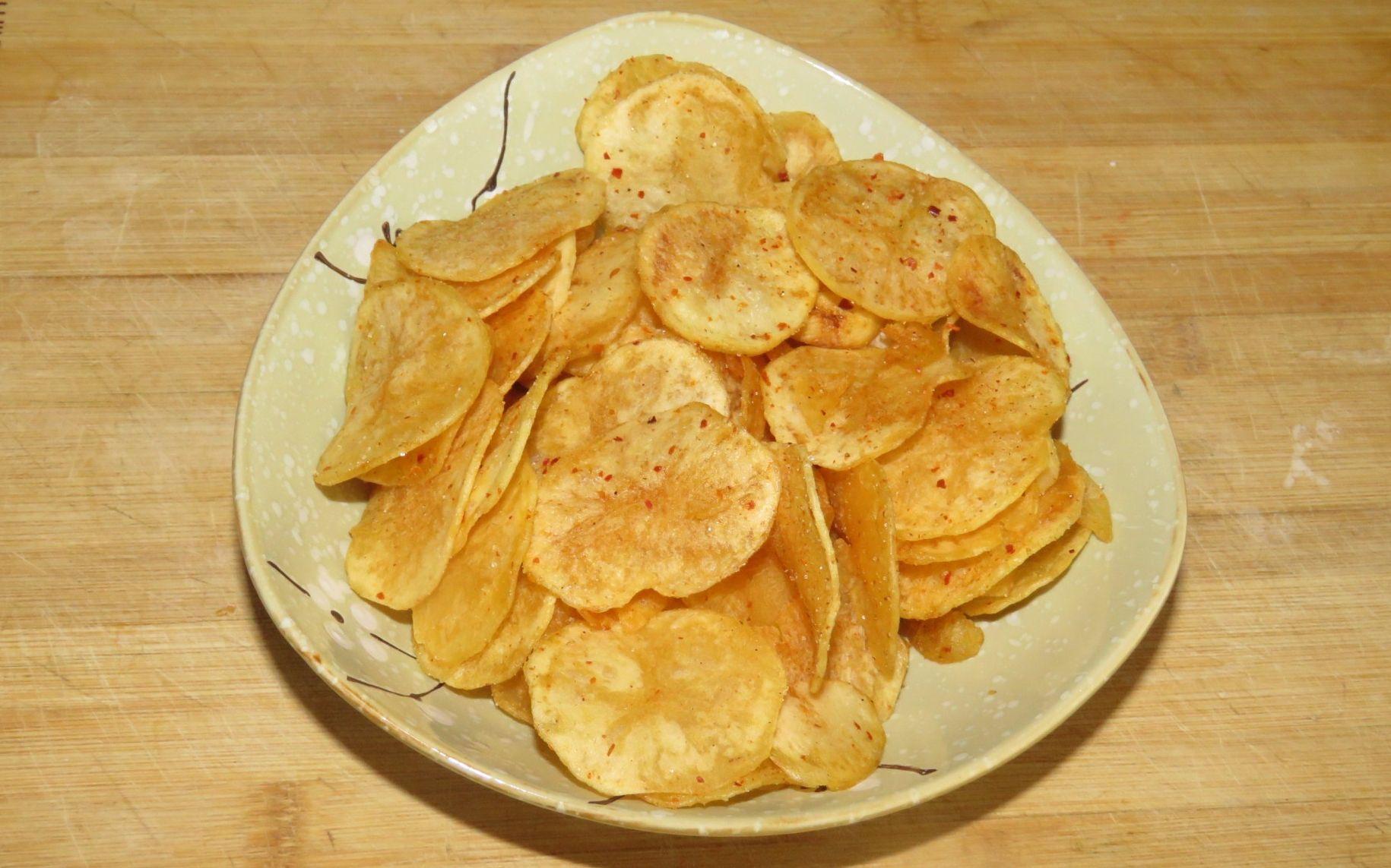 甜点制作视频_炸薯片原来这么简单、香脆可口、两土豆做一大盘、大人孩子 ...