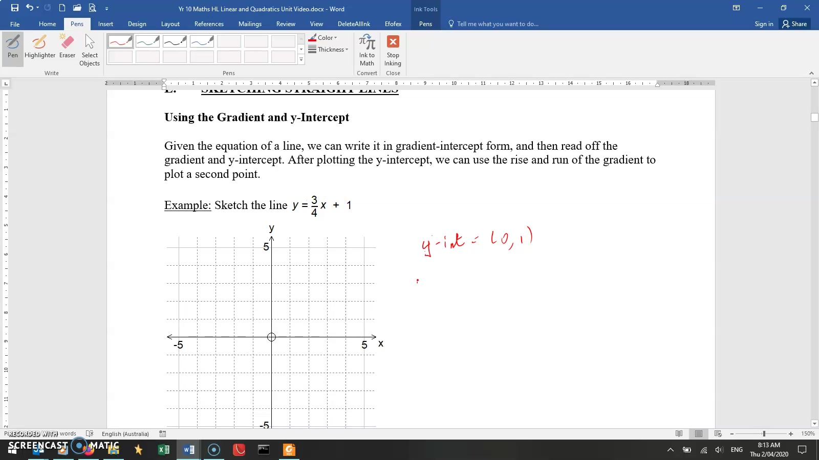 MA Yr10 HL - Mr Lineage - Lesson 6 - Quadratics - 2. Sketching straight lines