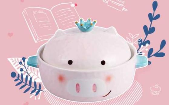 少女心陶瓷猪泡面碗家用可爱带盖学生宿舍好看的碗筷餐具套装单人