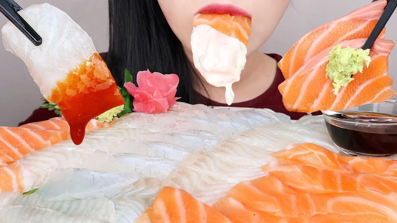 【hongyu】生鱼片三文鱼,比目鱼,石鳕鱼海鲜木桶(不说话)吃的声音(2019年9月20日19时31分)