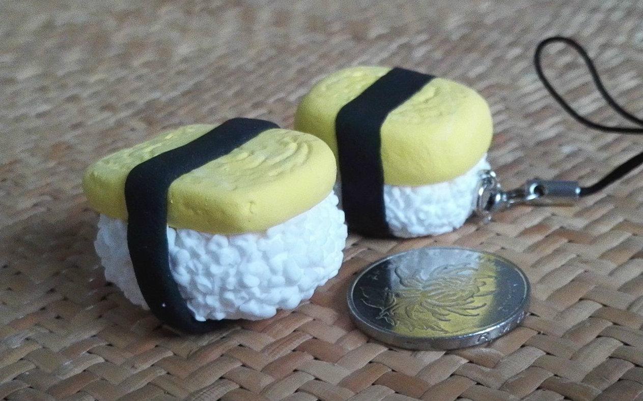 【超輕粘土】制作玉子燒壽司掛件圖片