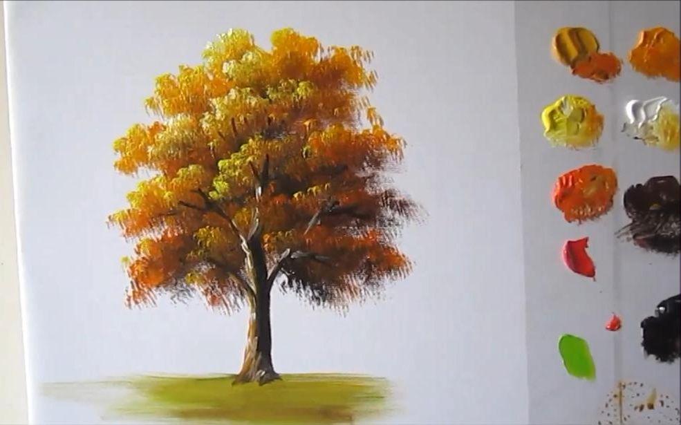 【丙烯画】如何画一颗树lesson 1 ,how To Paint A Tree In Acrylics
