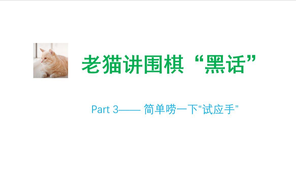 """老猫讲围棋黑话(3)——""""试应手""""的妙用"""